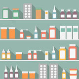 Flat style medical pharmaceutical bottles glasses. Containers scales icon set Stock Photos
