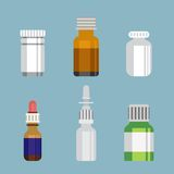 Flat style medical pharmaceutical bottles glasses Royalty Free Stock Images