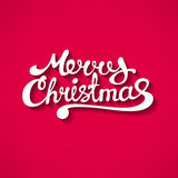 Flat style Merry Christmas text with shadow Stock Photos