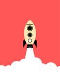 Flat style minimal poster of a rocket rising Royalty Free Stock Photos