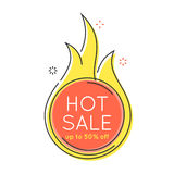 Flat style minimal trendy bubble shaped banner, price tag, fire. Sale sticker, badge. Vector illustration Royalty Free Stock Photography