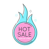Flat style minimal trendy bubble shaped banner, price tag, fire. Sale sticker, badge. Vector illustration Royalty Free Stock Image