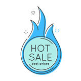 Flat style minimal trendy bubble shaped banner, price tag, fire. Sale sticker, badge. Vector illustration Stock Photos