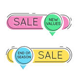 Flat style minimal trendy bubble shaped banner, price tag, stick Royalty Free Stock Photo