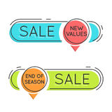 Flat style minimal trendy bubble shaped banner, price tag, stick Royalty Free Stock Photos
