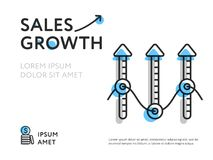 Growth of sales in colorful template. Flat style of minimalist image with arrows showing sales growth Royalty Free Stock Image