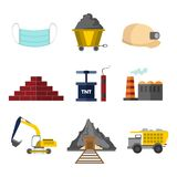 Flat Style Mining Related Vector Illustration Graphic Set royalty free illustration