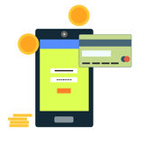 Flat style mobile banking concept Royalty Free Stock Image