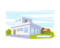 Flat Style Modern Architecture House with Pool and Green Lawn. Vector Drawing in The Perspective View. Royalty Free Stock Photos