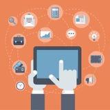 Flat style modern business innovation finance payment concept. Flat style modern business innovation finance technology payment concept. Tablet on palm, finger Stock Photos
