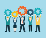 Flat style modern business people turn up cog wheel concept stock photography