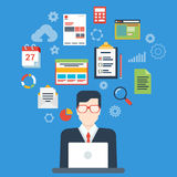 Flat style modern business plan, report web infographic concept Stock Photos