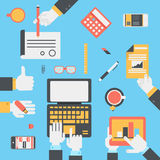 Flat style modern business technology desktop hands icon set Royalty Free Stock Photo