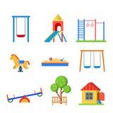 Flat style modern children playground icon set Stock Photography