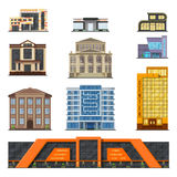 Flat style modern classic municipal buildings front, facade city design vector. Royalty Free Stock Photo