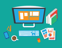 Flat Style Modern Design Concept of Creative Office Workspace Stock Photo