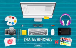 Flat Style Modern Design Concept of creative Workspace. Royalty Free Stock Photos