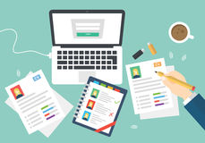 Flat Style Modern Design of Office Workplace. Icons Set of Business Work Flow Items and Gadgets.  Royalty Free Stock Photography