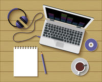 Flat Style Modern Design of Office Workplace Stock Images