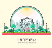 Flat style modern design of public park landscape in the city Stock Photos