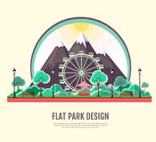 Flat style modern design of public park with mountains landscape Royalty Free Stock Image