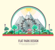 Flat style modern design of public park with mountains landscape Stock Photo