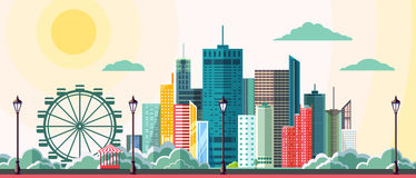 Flat style modern design of urban city landscape. Royalty Free Stock Image