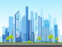 Flat style modern design of urban city landscape. stock illustration