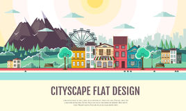 Flat style modern design of urban city landscape and mountains. Flat style design of urban city landscape and mountains Royalty Free Stock Images