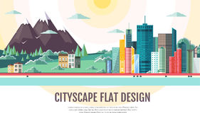 Flat style modern design of urban city landscape and mountains. Flat styledesign of urban city landscape and mountains Stock Photo