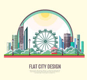 Flat style modern design of urban city landscape. Stock Photography