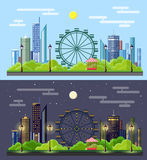 Flat style modern design of urban day and night city landscape. Royalty Free Stock Photo