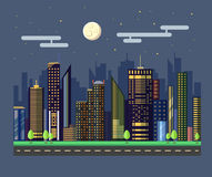 Flat style modern design of urban night city landscape. Flat style modern design of urban night city Royalty Free Stock Image
