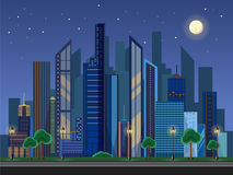 Flat style modern design of urban night city landscape. Flat style modern design of urban night city Royalty Free Stock Photography