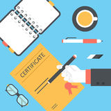 Flat style modern desktop certificate signing hands icon set Stock Image