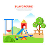 Flat style modern playground in park template. Slide seesaw. Childhood parenting collection Royalty Free Stock Image