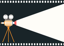Flat style motion picture film camera background Royalty Free Stock Photo