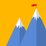Flat style mountain success concept Royalty Free Stock Photography