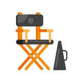 Flat style movie directors chair. Royalty Free Stock Image