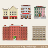 Flat style  municipal buildings set Royalty Free Stock Images