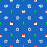 Flat style new year seamless pattern. Vector colored flat design new year christmas tree snowflake calendar 25 december seamless pattern on blue background Stock Photos