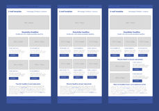 Flat style newsletter blue template Royalty Free Stock Photography