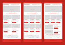 Flat style newsletter red template Stock Photo
