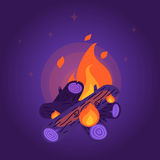 Flat style night bonfire Royalty Free Stock Photo