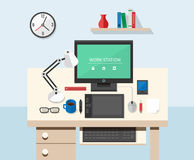 Flat style office workspace Stock Photography