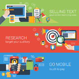 Flat style online business banner set Stock Photos