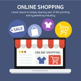 Online shopping banner with text and icon, flat style. Flat style.Online shopping, bag, t-shirt, cart, sale tag icon on laptop, visual shop, e-commerce. Vector Royalty Free Stock Photo