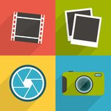 Flat style photography icons with long shadow Stock Image