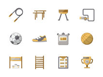 Flat style physical education color icons set Stock Image
