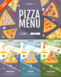 Flat style pizza menu concept Web site design. Royalty Free Stock Photography